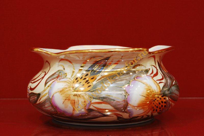 4166 4165 Конфетница Бриз тигровая орхидея на беж- конфетницы- Тигровая орхидея на беж- бежевый-130мм-1683-Ф.