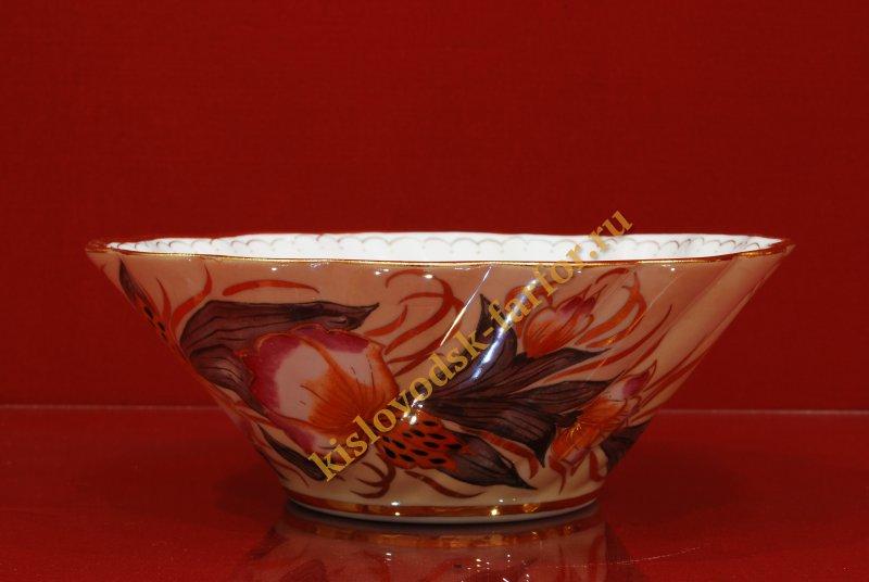4174 4165 Конфетница Море тигровая орхидея на беж- конфетницы- Тигровая орхидея на беж- бежевый-130мм-1980-Ф.