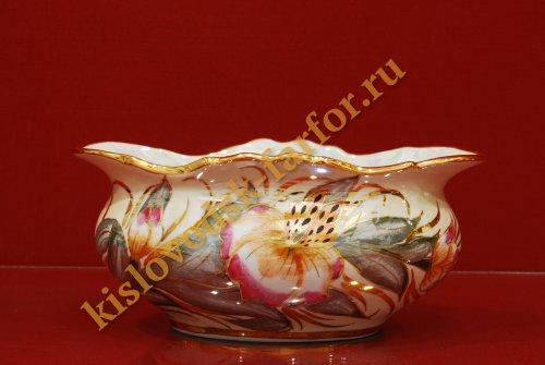 5071 4165 Конфетница Мелодия тигровая орхидея на беж- конфетницы- Тигровая орхидея на беж- бежевый-150мм-1088-Ф.
