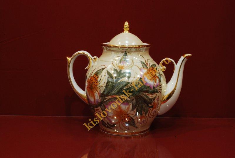Чайник Праздничный на 3 литра h260 (тигровая орхидея на бежевом фоне)