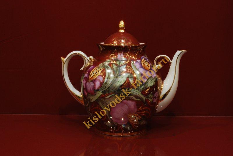 Чайник Праздничный на 3 литра h260 (Тигровая орхидея на бордо)