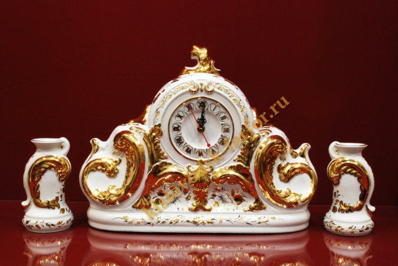 Часы Каминные с подсвечниками 27 см (Белые с золотыми цветами)