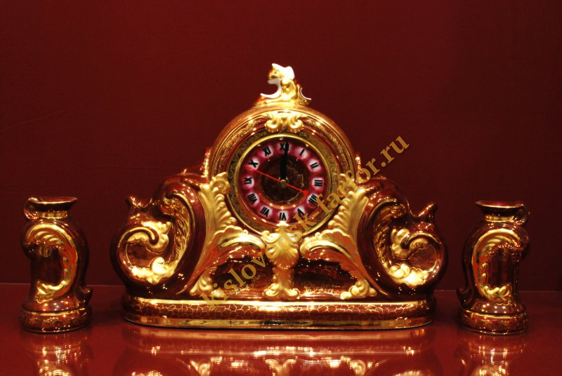 Часы Каминные с подсвечниками 27 см (Бордо с золотом)