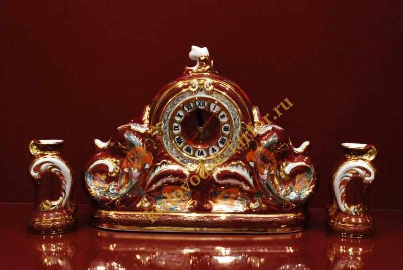 Часы Каминные с подсвечниками 27 см (Лилии на бордо)