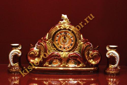 Часы Каминные с подсвечниками 27 см (Тюльпаны на бордо)