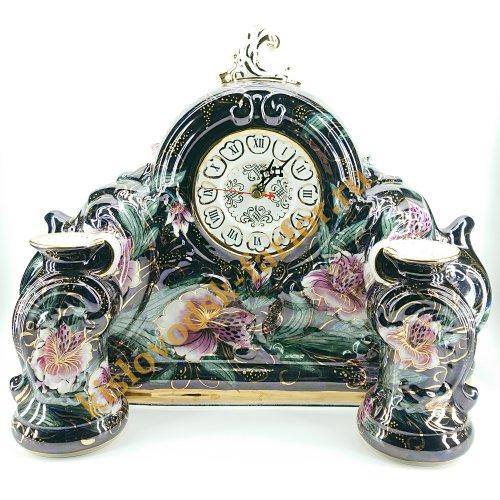 """Часы """"Каминные""""  Коллекция """"Тигровые орхидеи на синем"""""""