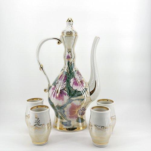 """Набор для вина """"Подарочный""""  Коллекция """"Тигровые орхидеи на бежевом люстре"""""""
