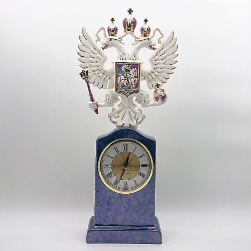 """Часы """"Герб"""" синие (сред.)"""