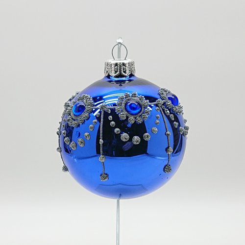 Шар с кристаллами синий