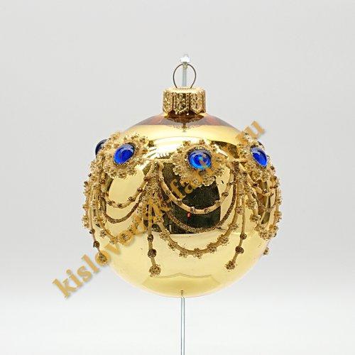 Шар с кристаллами золотой 2