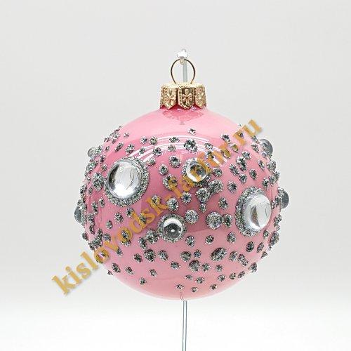 Шар с кристаллами розовый