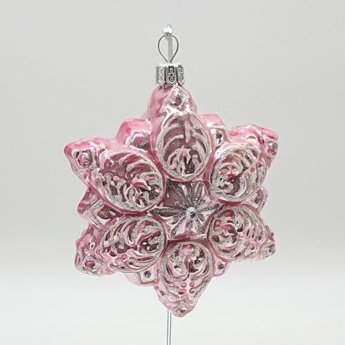 Снежинка розовая