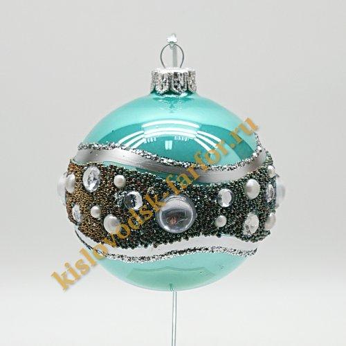 Шар с кристаллами бирюзовый