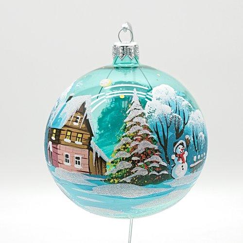 """Шар прозрачный """"Зимний день"""" снеговик"""