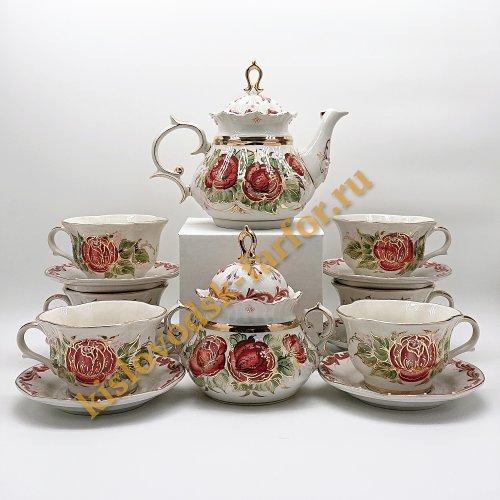 """Сервиз чайный """"Розовые цветы"""""""