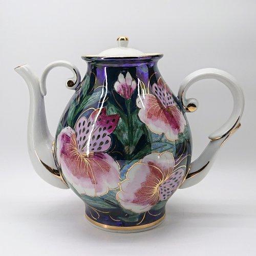 """Чайник """"Восточный""""  Коллекция """"Тигровые орхидеи на синем"""""""