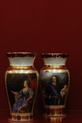 Вазы Амелия 28 см Екатерина и Петр Первый в парном оформлении