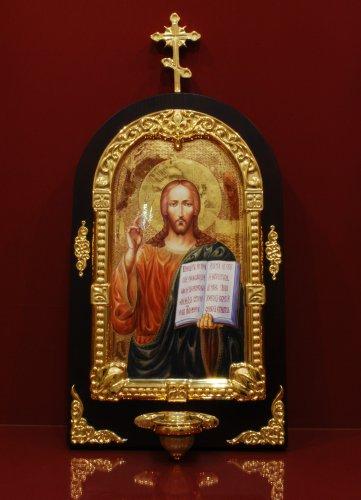 Икона  Иисуса Христа с лампадой h600