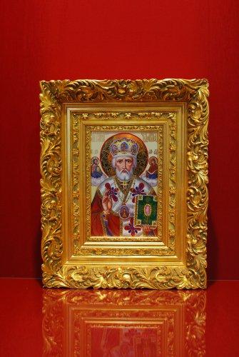 Икона Николая Чудотворца по фарфору в багете