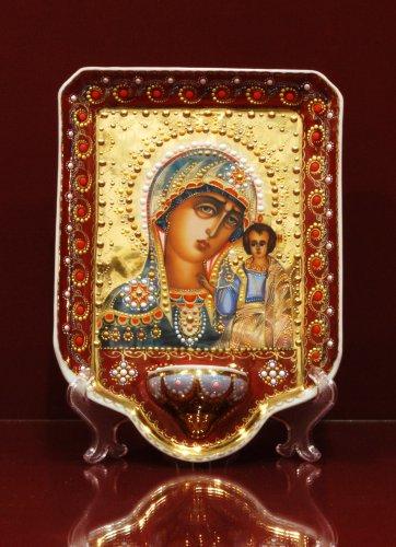 Икона с лампадкой в капельном золоте h230 (Казанская Богоматерь)