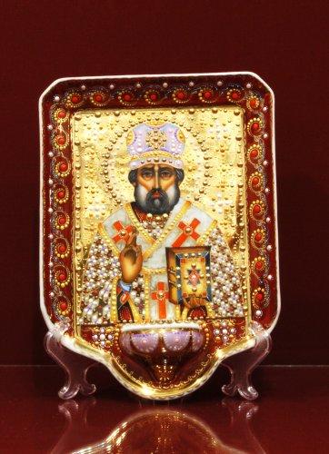 Икона с лампадой в капельном золоте h230 (Николай Чудотворец)