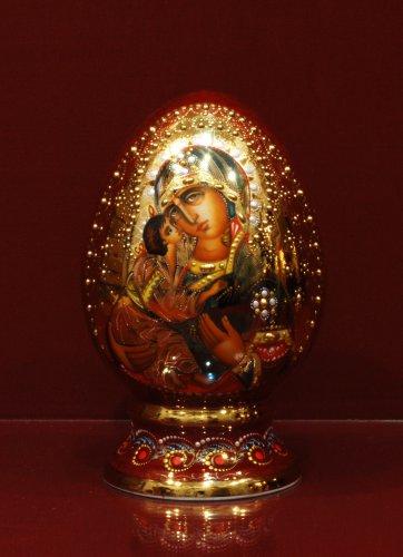 Яйцо в капельном золоте h200 (Владимирская Богоматерь)